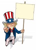 foto of uncle  - Clean-cut, overview cartoon illustration of Uncle Sam pointing the finger in a classic WWI poster style and holding a placard.