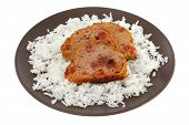 Meat With Boiled Rice On Brown Plate
