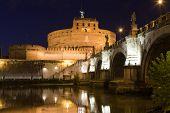 Tiber Bank, Bridge, Landmark Medieval Castle Saint Angel Rome Italy