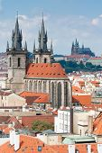 Top View Cityscape On Old Prague Cathedral And Castle