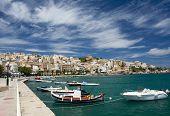 Sea Bay, Promenade In Mediterranean Town And Cirrus Clouds