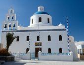 Traditional White Church Of Panagia Of Platsani Oia Island Santorini