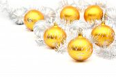 Set Of White And Yellow Christmas Ball On White