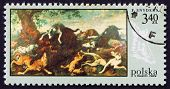 Postage stamp Poland 1968 Fox Hunt, Painting