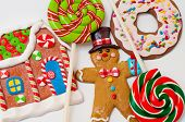 Gingerbread Man, House And Lollipops