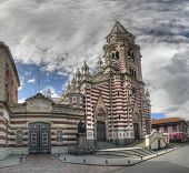 stock photo of senora  - Panorama view on the Senora del Carmen church and Colegio Salesiano de Leon VIII in the historic Candelaria district of Bogota Colombia - JPG