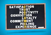 Satisfaction terms written on a chalkboard against blue background
