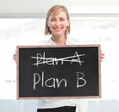 Businesswoman holding a blackboard with plan a and plan b written on it