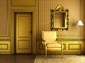 Classic Palace Interior With Armchair Mirror And Golden Molding