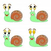 A Funny Snail Expressing Different Emotions