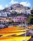 Yellow boats on beach, Positano, Italy.
