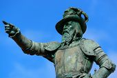 stock photo of san juan puerto rico  - Juan Ponce De Leon statue in old San Juan - JPG