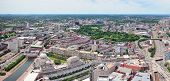 Boston city aerial panorama view with urban buildings and highway.