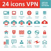 24 Vector Icons VPN (red privada Virtual)