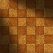 Section Of Ceramic Two-tone Brown Stone Tiles Lit Diagonally
