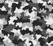 Polar Black And White Camouflage Seamless Pattern
