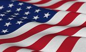image of waving american flag  - Flag of the USA waving in the wind with very shallow depth of field - JPG