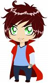 stock photo of chibi  - A vector illustration of a young guy in blue shirt and pants wearing red cape - JPG