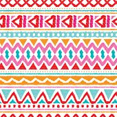 Seamless trend summer color aztec vintage folklore background pattern in vector