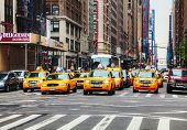 Gele taxi's in het New York City Street