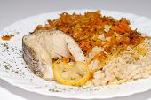 the healthy diet - brown rice with fisch and vegetable