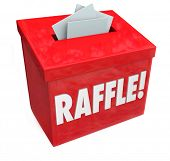 Dropping tickets inside a raffle box for a 50-50 or other fundraising drawing hoping to win big prizes or money jackpot