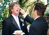 One groom playfully puts wedding cake on his husband's nose at their wedding.