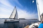 Regatta on the sea. Sailboat. Yachting. Sailing. Travel Concept. Vacation.