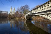 Panorama Of Central Park  With Bow Bridge.