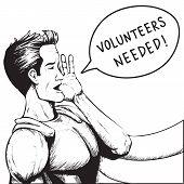 Volunteers Wanted! Cartoon Vector Illustration.