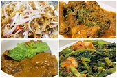 foto of curry chicken  - Nyonya Peranakan Food Collage with Beef Rendang Curry Chicken Ikan Bilis Chili Onions and Kangkong Prawns Dish Closeup Collage - JPG