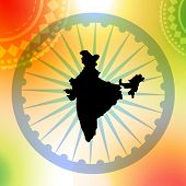 vector map of india on colorful background