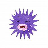 retro cartoon spiky sea creature