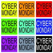 Cyber Monday On Colorful Banner For Special Price Products