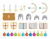 stock photo of not found  - A set of geometric icons of classic elements found in fantasy and medieval settings - JPG