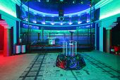 MOSCOW - FEBRUARY 8: Specially equipped stage with grid for presentation of attraction Megavolt - ma
