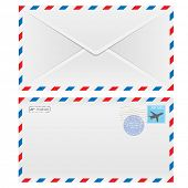 Air mail envelope with postal stamp isolated on white background. Illustration.