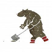 retro cartoon bear digging with spade