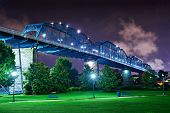 Walnut Street Bridge over Coolidge Park in Chattanooga, Tennessee.