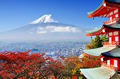 Mt. Fuji mit Herbstfarben in Japan.