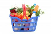pic of grocery-shopping  - groceries in shopping basket - JPG