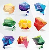 Abstract low-poly speech bubble vector background