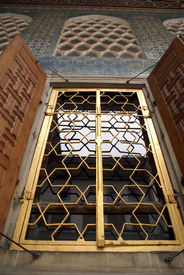 pic of eunuch  - Golden window and wall of Harem in Topkapi palace Istanbul - JPG