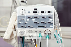image of medical equipment  - Close up of the volume ventilator for newborns - JPG
