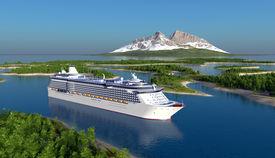 picture of passenger ship  - Passenger ship on the river - JPG