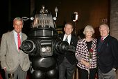 LOS ANGELES - NOVEMBER 8: Richard Anderson, Robby The Robot, Earl Holliman, Anne Francis, Warren Stevens at the 50th Anniversary Gala Screening of