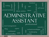 Administrative Assistant Word Cloud Concept On A Blackboard