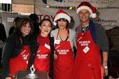 Kate Linder, Mirelly Taylor, Lisa Rinna, Harry Hamlin at the Los Angeles Mission Christmas Eve For The Homeless, Los Angeles Mission, Los Angeles, CA 12-24-12