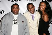 LOS ANGELES - OCTOBER 10: Kenan Thompson with Nick Cannon and Joy Bryant at the birthday party for N