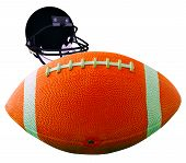 image of ncaa  - A football for american football isolated over white with helmet on the back - JPG